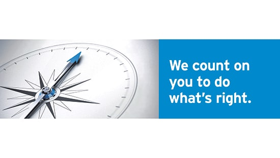 We count on you to do what's right. Ecolab Code of Conduct tagline.